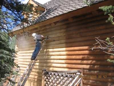 Log home supplies How to stain log cabin